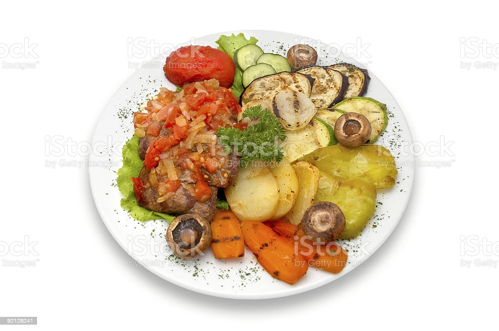 grilled veal fillet mignon with vegetables royalty-free stock photo