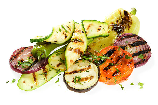 grilled vegetable - grilled vegetables stock photos and pictures
