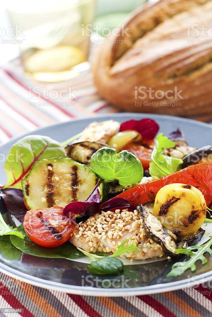 Grilled vegetables and chicken royalty-free stock photo