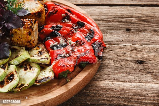655793486 istock photo Grilled vegetables. Appetizing vegetarian food. 655793966