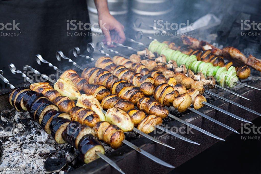 Grilled vegetables barbecue skewers vegetarian dinner picnic food shish kebab royalty-free stock photo