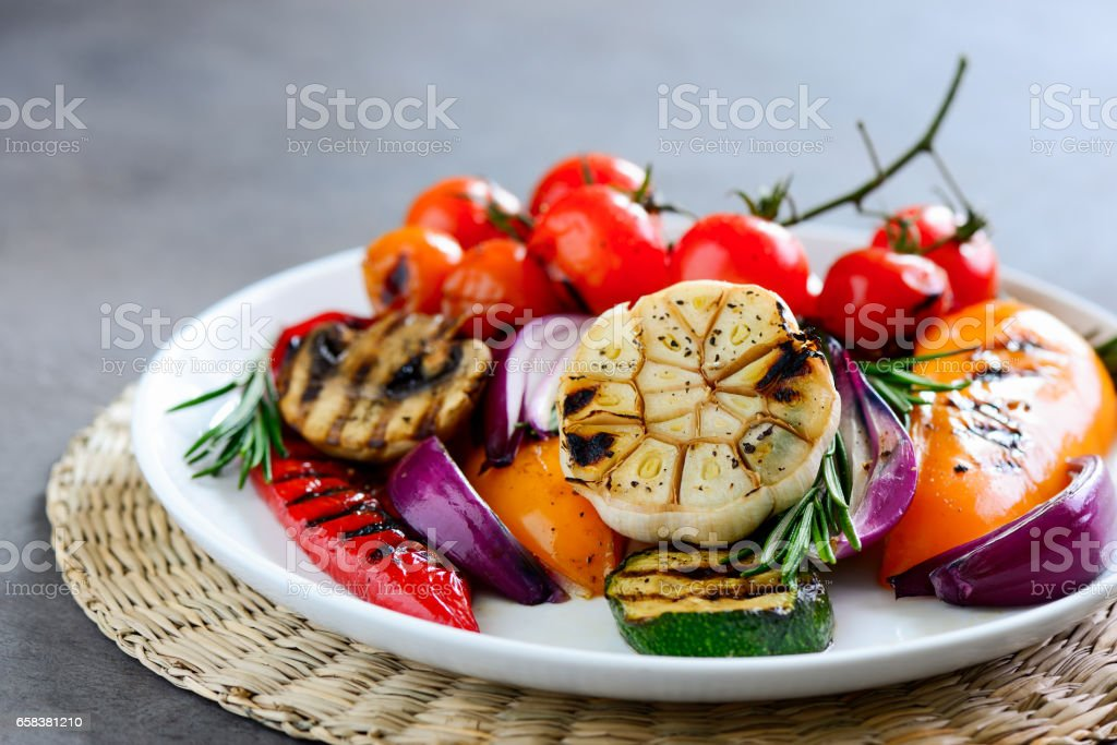Grilled vegetables, close up stock photo