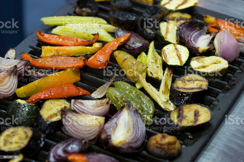 Grilled vegetables cooked on the grill stock photo