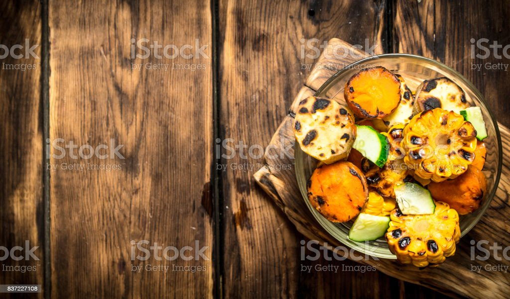 Grilled vegetables in a bowl. stock photo