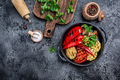 istock Grilled vegetables in a cast iron grilling pan, Vegan cuisine, banner, menu, recipe place for text, top view 1331450062