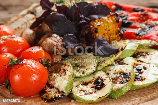 655793486 istock photo Grilled vegetables mix. Healthy vegetarian food. 655793570