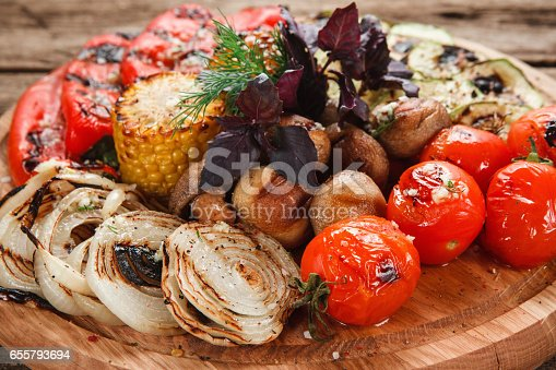 655794674 istock photo Grilled vegetables mix. Healthy vegetarian food. 655793694