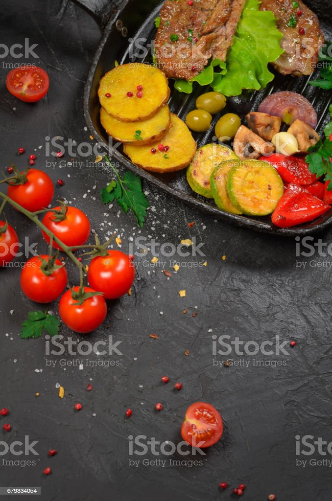 Grilled vegetables on a dark background royalty-free stock photo
