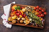 istock Grilled vegetables on cutting board 516621399