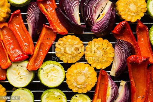 istock Grilled vegetables on the pan 675613212