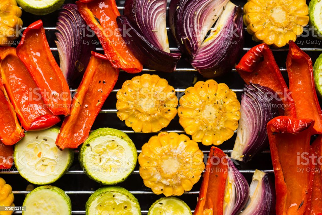 Grilled vegetables on the pan stock photo