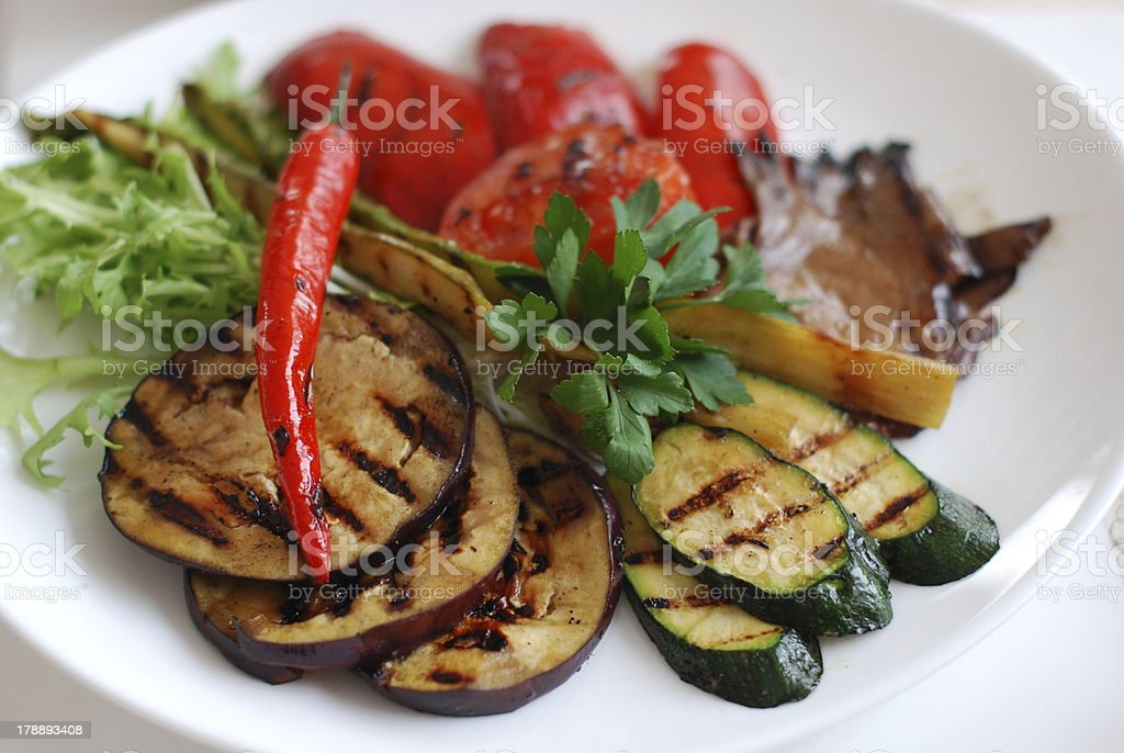 Grilled vegetables on the plate royalty-free stock photo