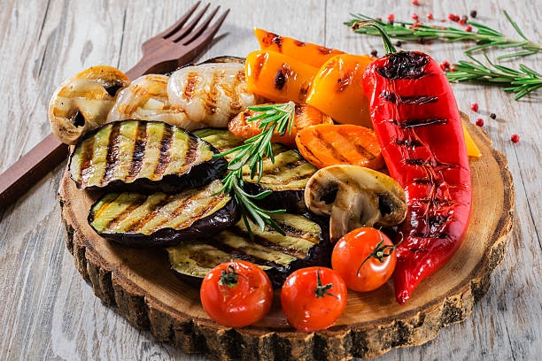grilled vegetables - grilled vegetables stock photos and pictures