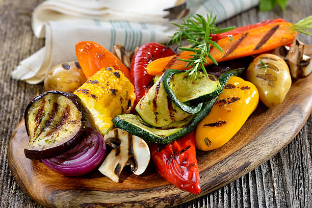 grilled vegetables - grilled stock photos and pictures