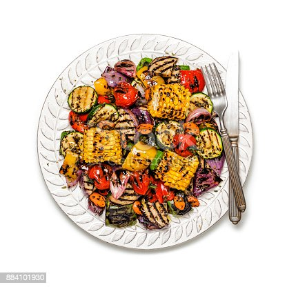 Grilled vegetables plate shot from above on white background. DSRL studio photo taken with Canon EOS 5D Mk II and Canon EF 100mm f/2.8L Macro IS USM