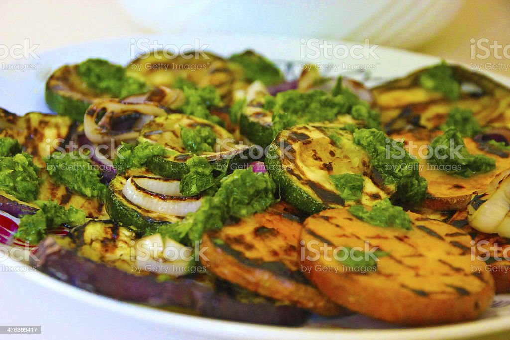 Grilled vegetables with basil pesto royalty-free stock photo