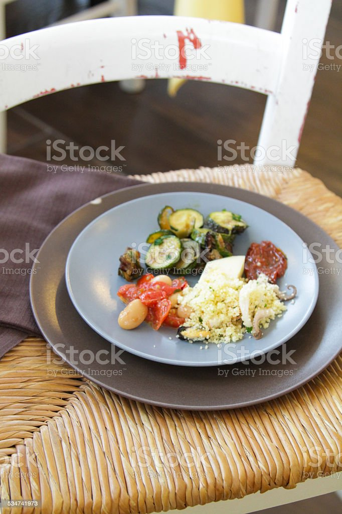 grilled vegetables with couscous stock photo