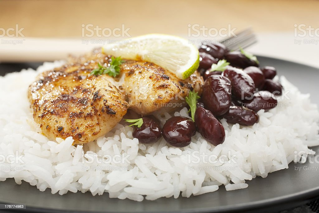 Grilled White Fish Dory with Spicy Creole Cajun Rub stock photo