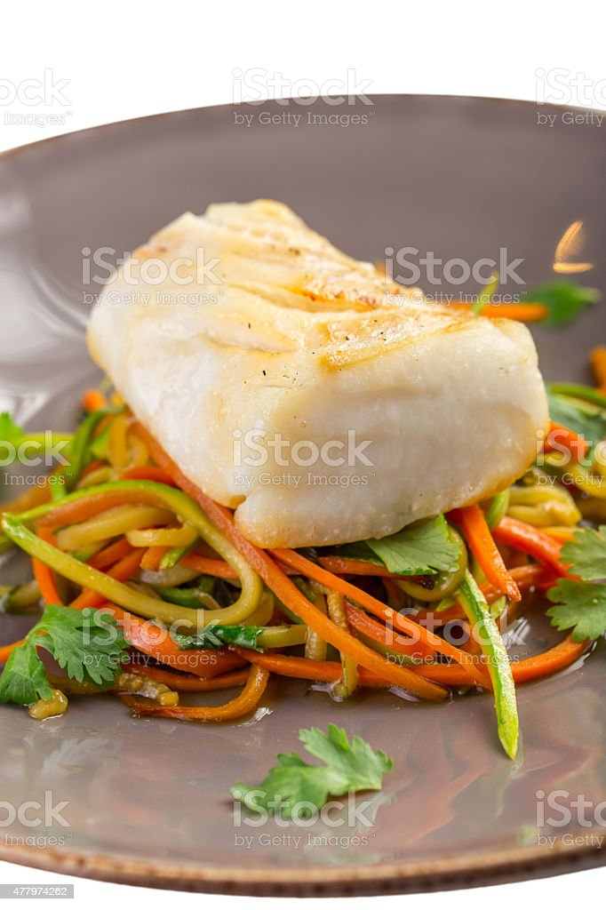 Grilled white fish fillet stock photo
