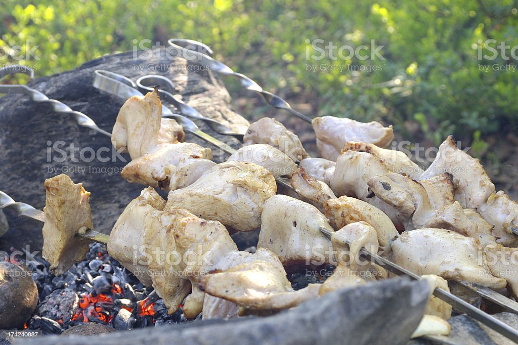 Grilled White Meat preparing shish kebab Barbecue fresh Food Picnic royalty-free stock photo