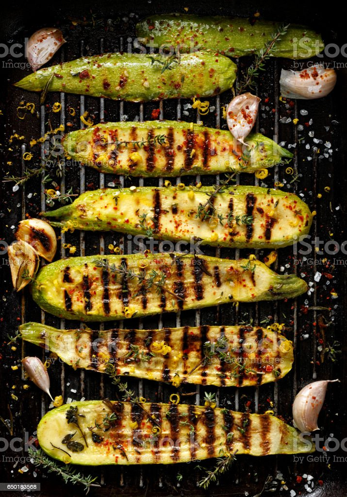 Grilled zucchini, top view stock photo