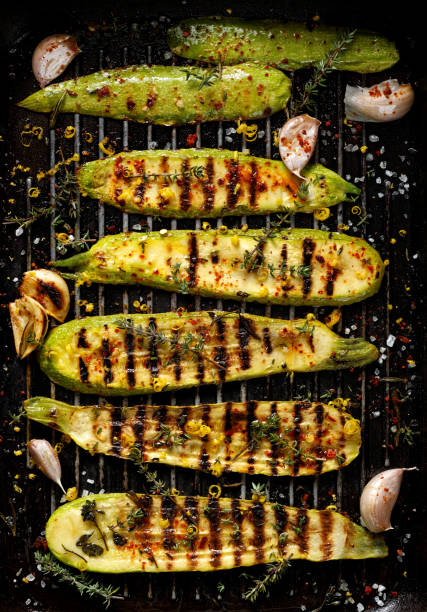 grilled zucchini, top view - grilled stock photos and pictures