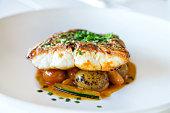 Grilles fish fillet with vegetables