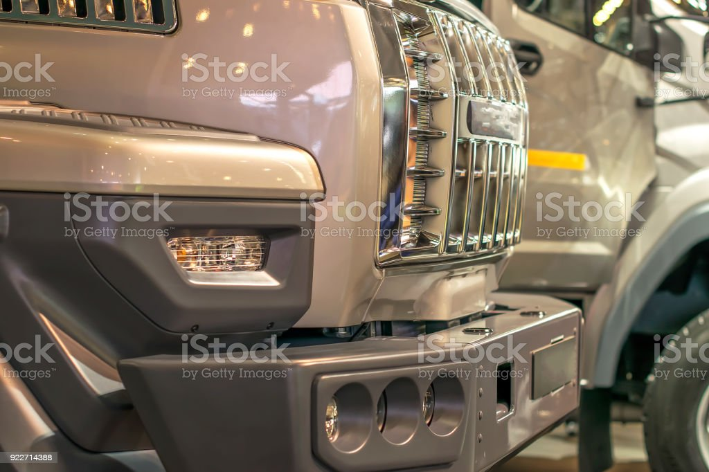 grilles of the radiators of trucks exhibited in series stock photo