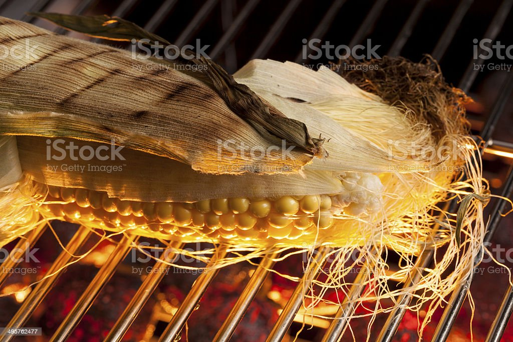 Grilling Corn royalty-free stock photo