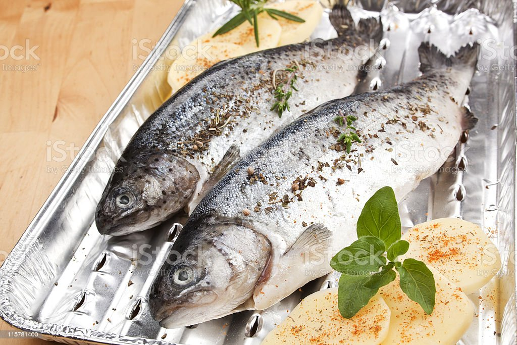 Grilling fish. Barbecue concept. royalty-free stock photo