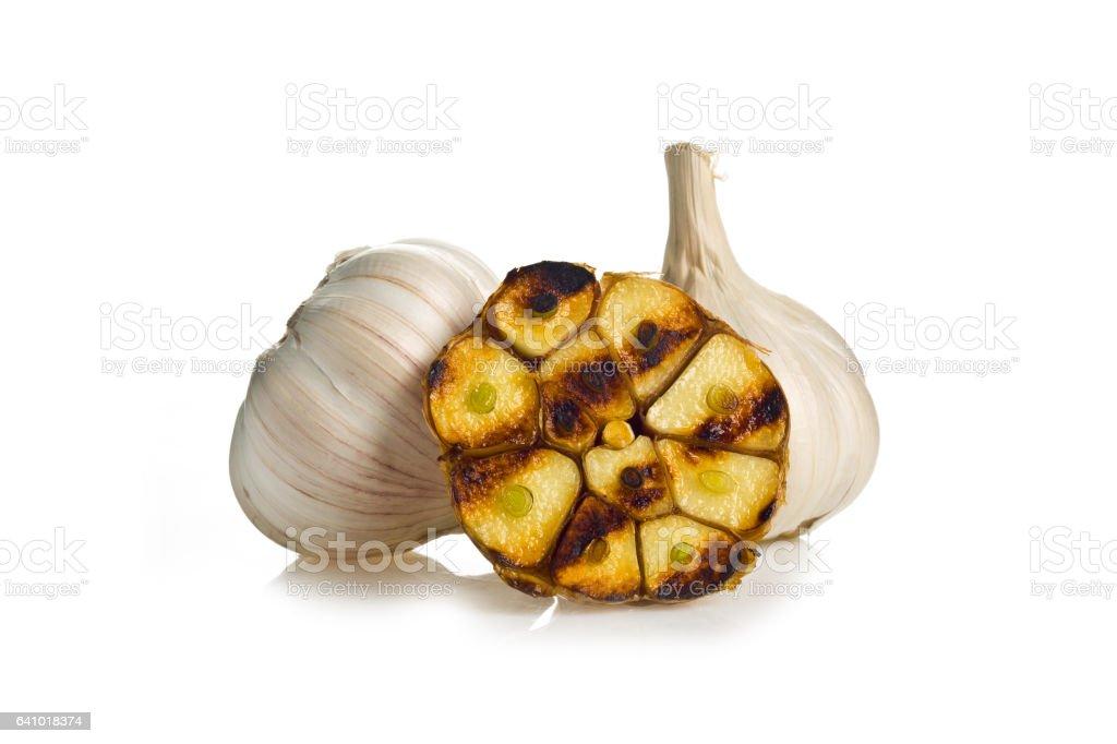 grilling garlic stock photo