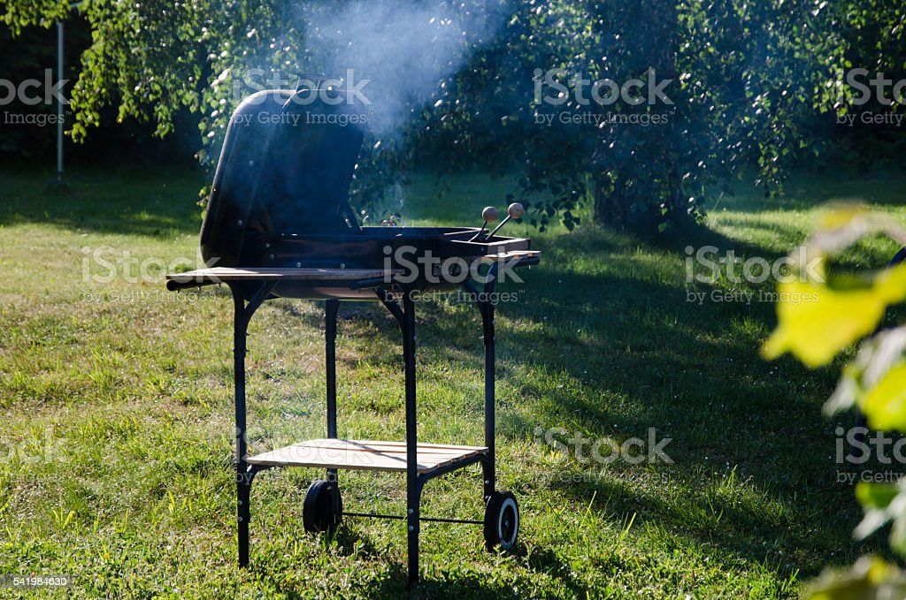 Grilling in the garden stock photo