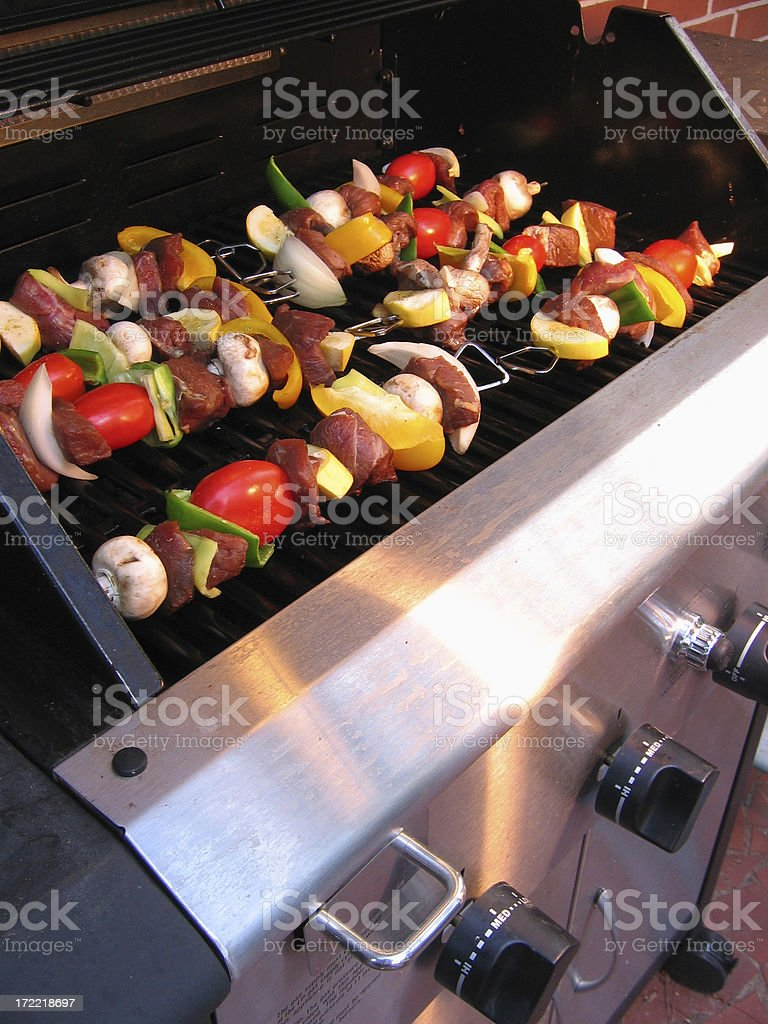 grilling kabobs royalty-free stock photo