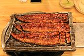 grilling Korean food eal Unagi Jang-Uh Gui 장어구이 in restaurant