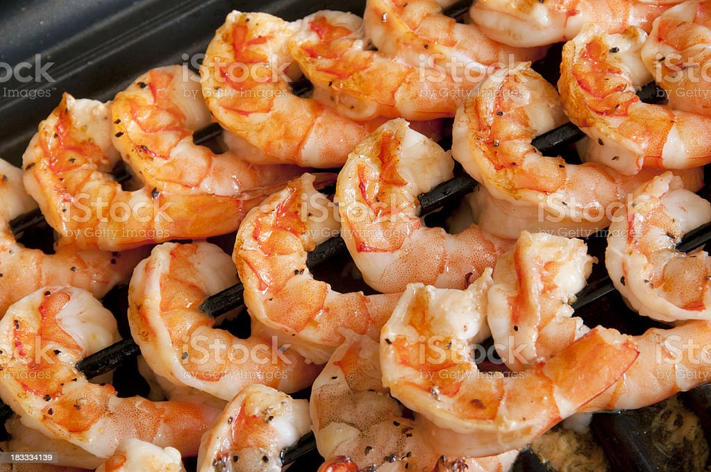 Grilling shrimp royalty-free stock photo