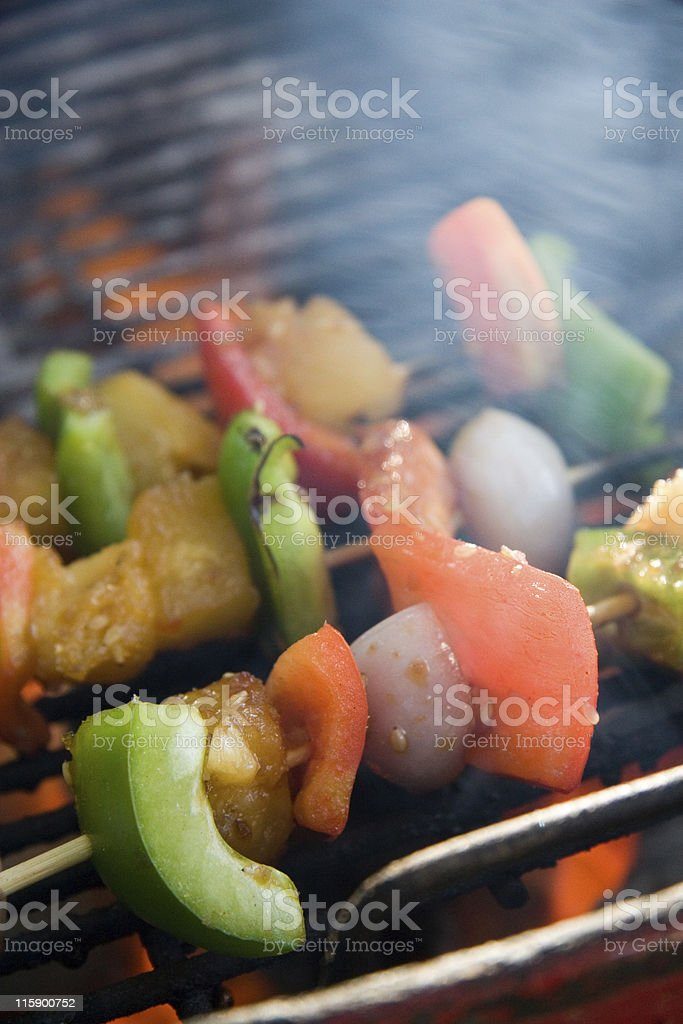 Grilling Vegetables royalty-free stock photo