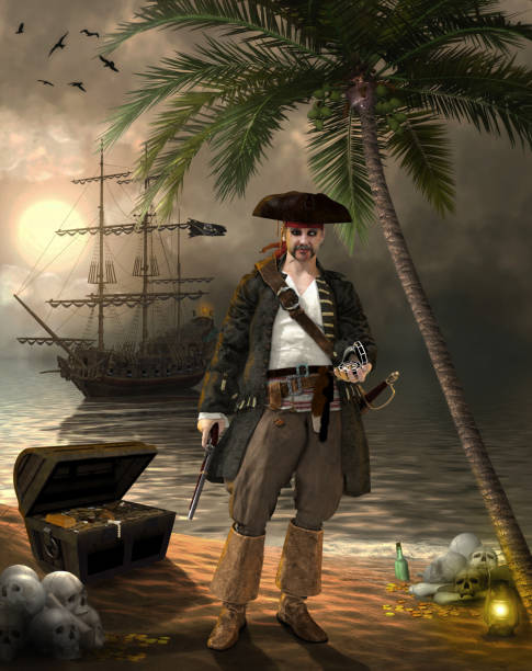 Grim Pirate Captain Searching for Treasure Grim pirate captain, holding a pistol and a compass, searching for treasure on a tropical island, 3d render illustration pirate criminal stock pictures, royalty-free photos & images