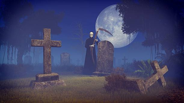 Grim Reaper Tombstone Scythe Cemetery Pictures, Images and ...