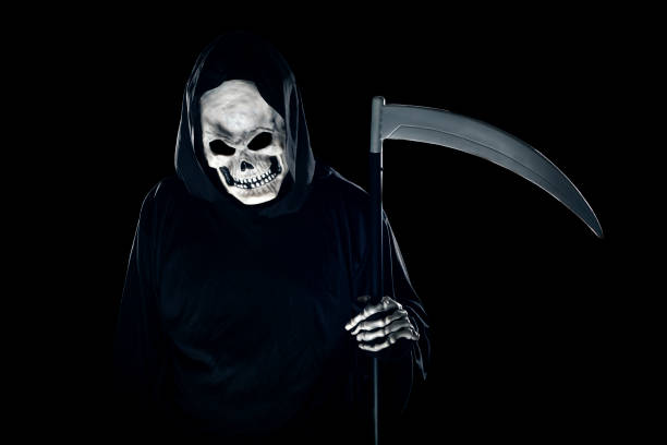 Grim Reaper Ghost Coming out of the Foggy Mist stock photo
