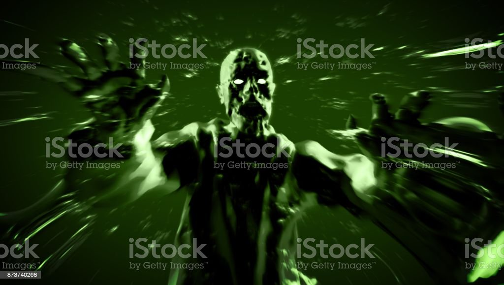 Grim zombie attack zombie monster run. 3D illustration. stock photo