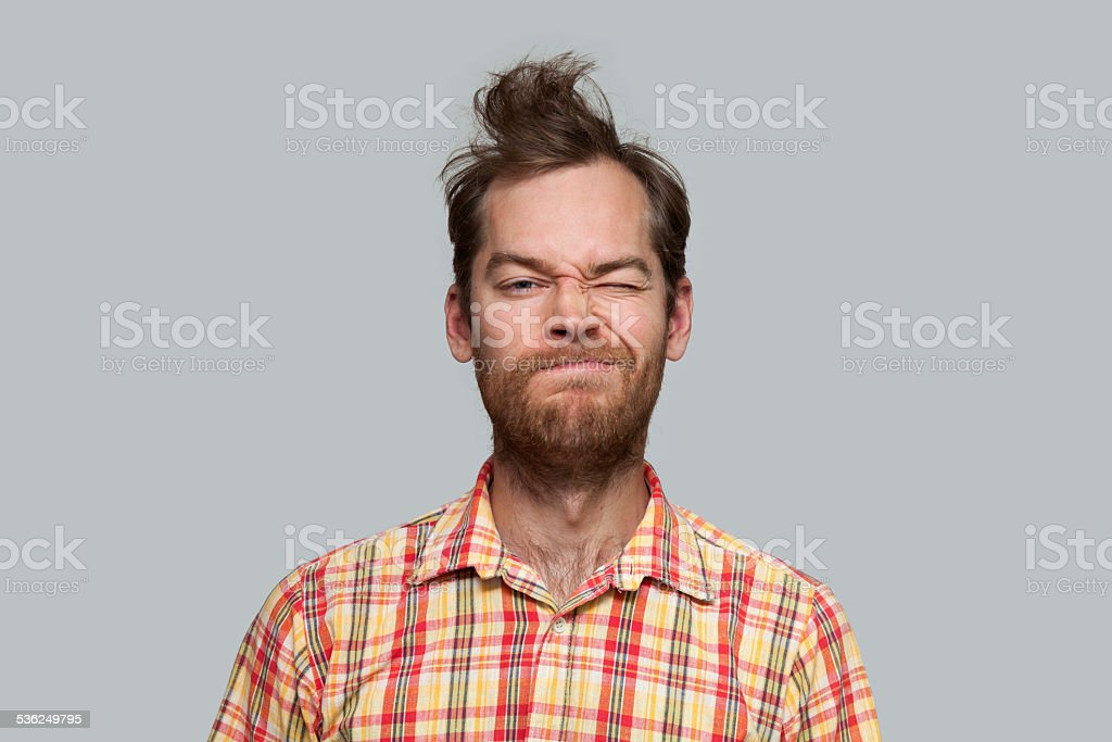 Grimacing Man stock photo