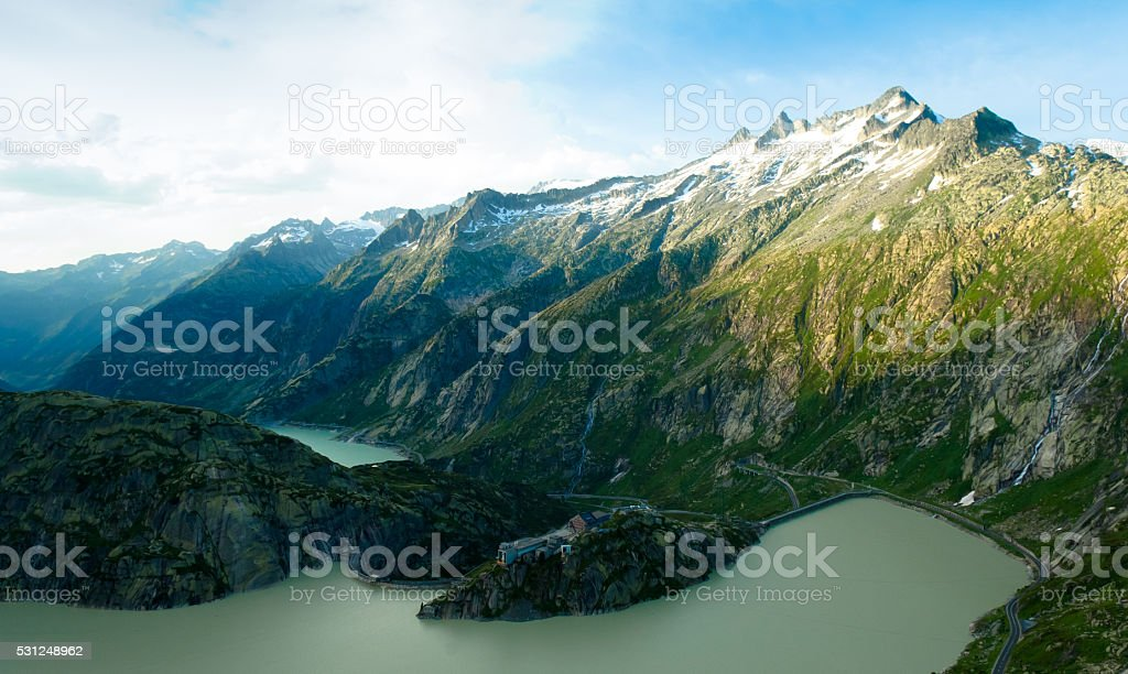 Grimselpass and lake Grimselsee in the Swiss Alps stock photo