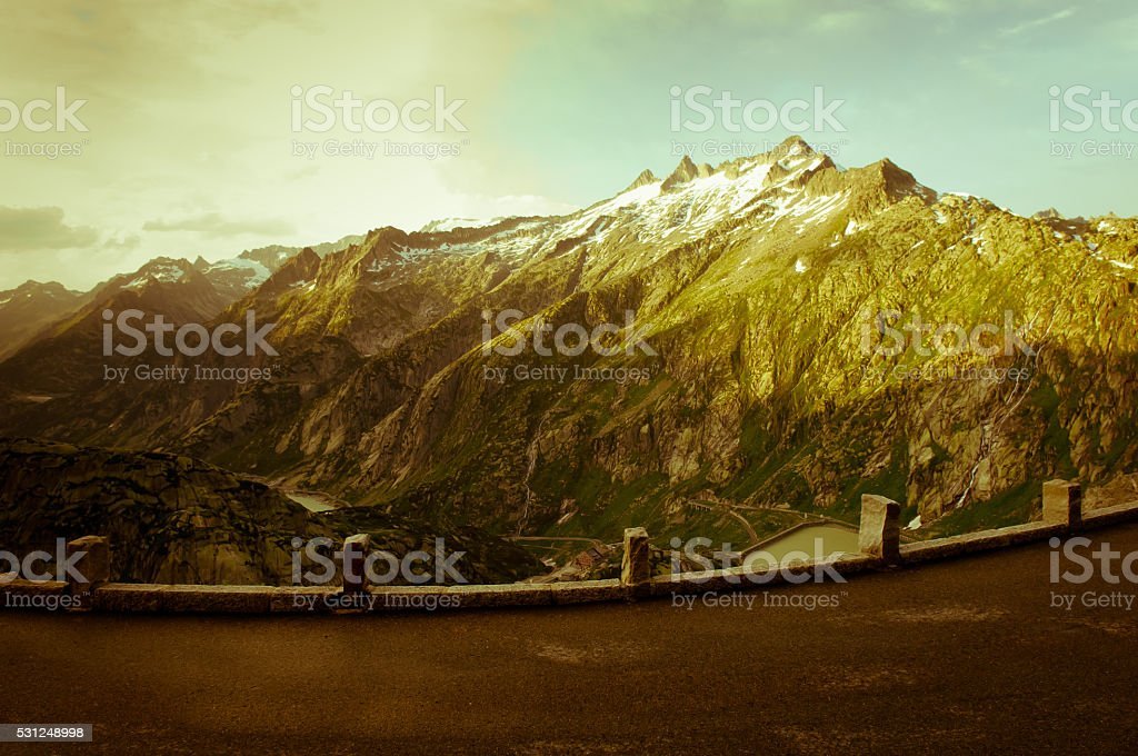 Grimselpass in the Swiss mountains stock photo