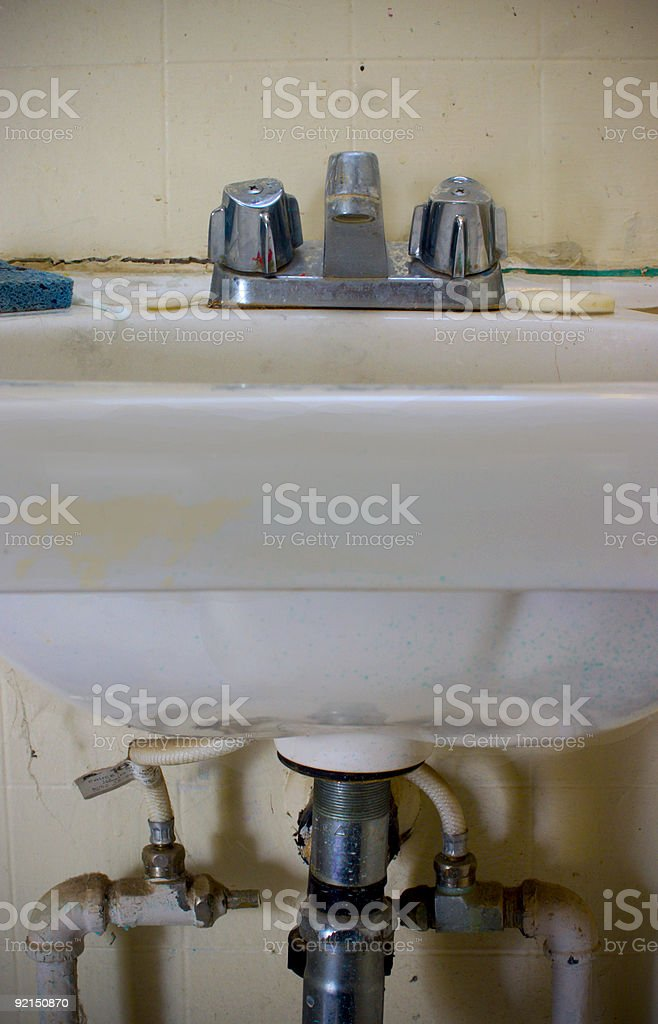 Grimy sink and drain stock photo