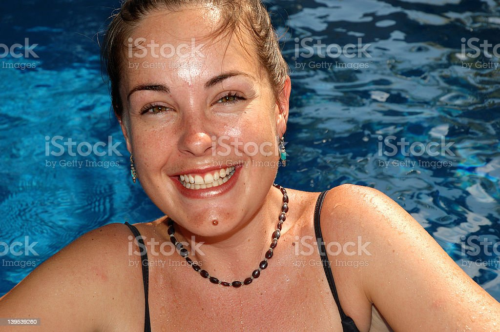 Grin by the pool royalty-free stock photo