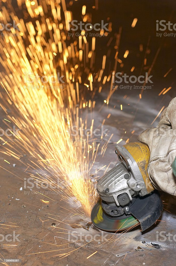 grind sparks royalty-free stock photo