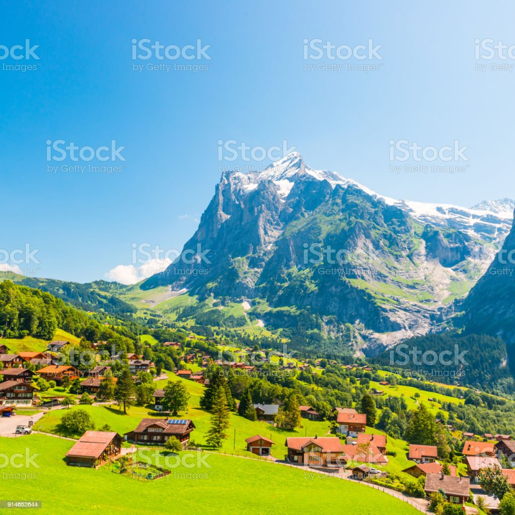 Grindelwald is a village in the Interlaken Oberhasli district in the canton of Berne in Switzerland. Arial view stock photo