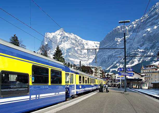 Grindelwald railway station in winter​​​ foto