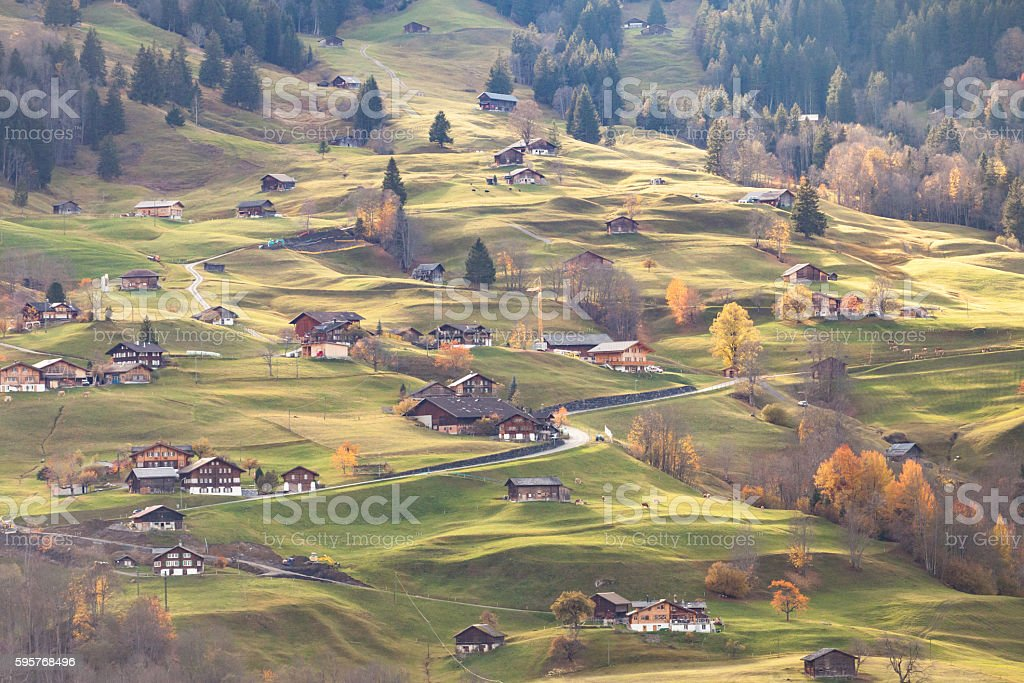 Grindelwald Switzerland in sunset time. stock photo