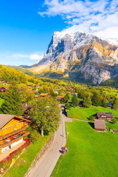 Grindelwald, Switzerland village and mountains view stock photo